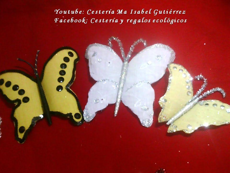 Como hacer mariposas de plástico desechable DIY. How to make plastic but...