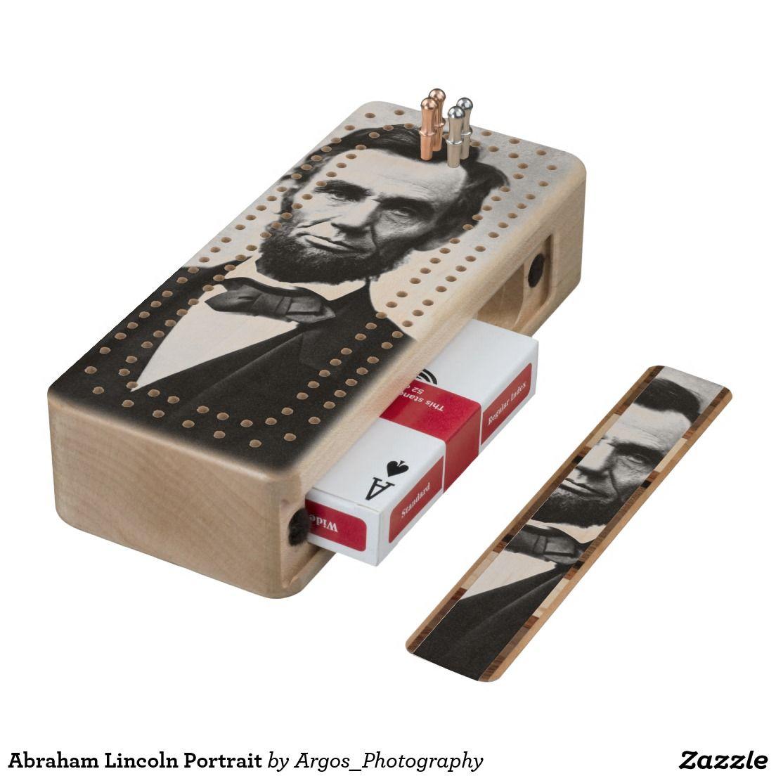 Abraham lincoln portrait wood cribbage board