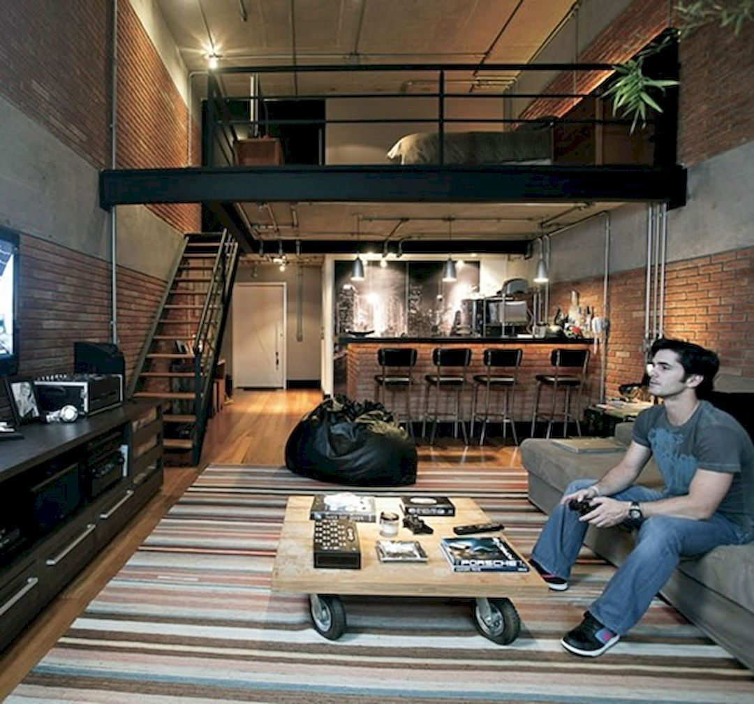 Industrial Office Features Exposed Bricks & Concrete Ceilings Çocuk Odası