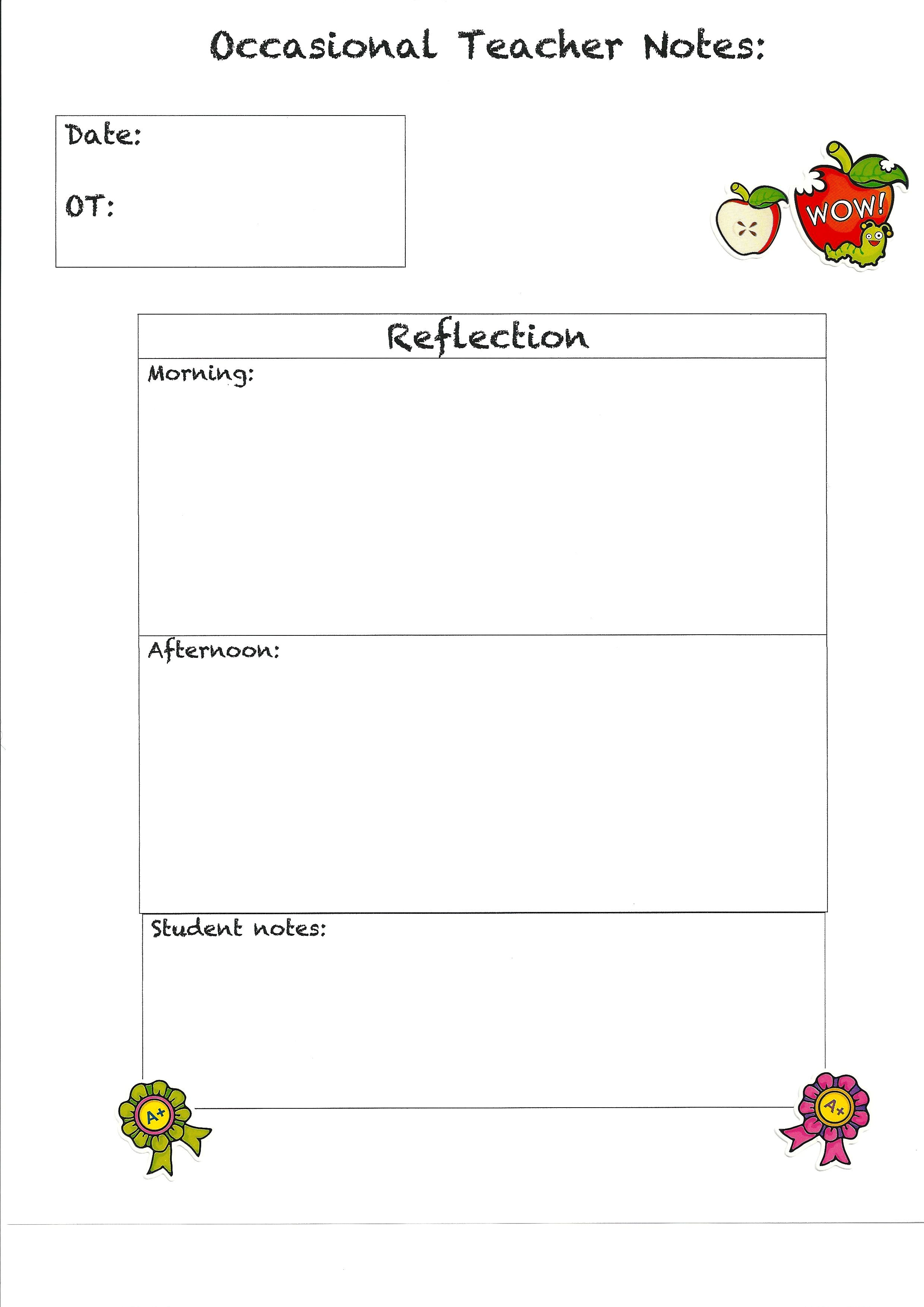 Here is a template for a supply teaching note that I made ...