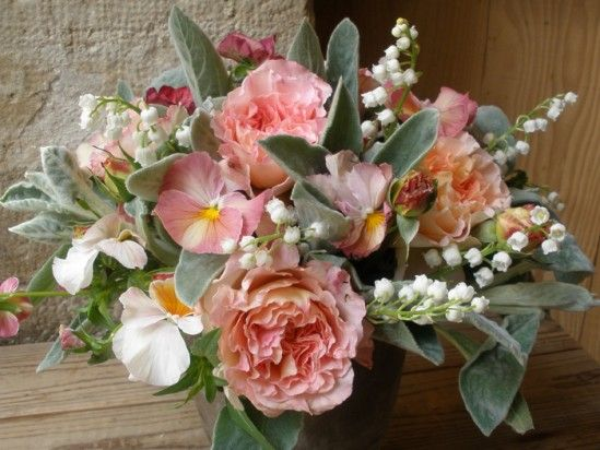 Pretty pink & sage. Lambs ear & lilly of the valley ~ what a great combination.