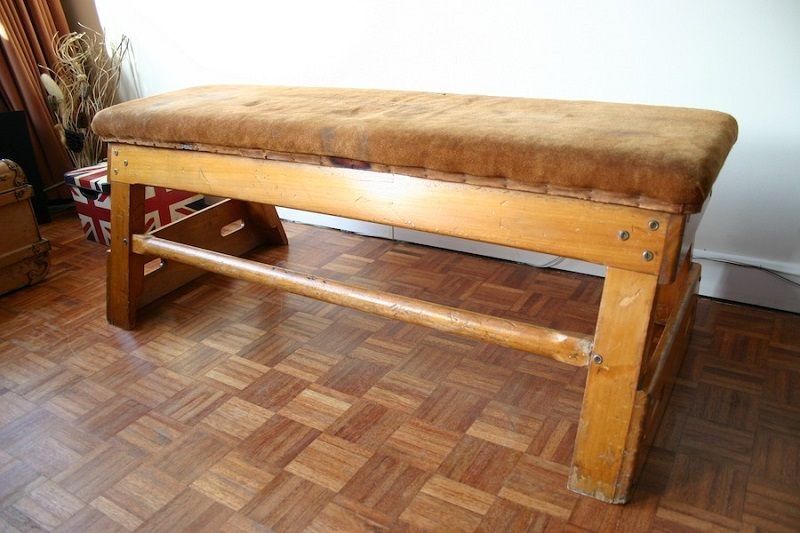 Vintage wood school gym bench la boutique vintage garage gym