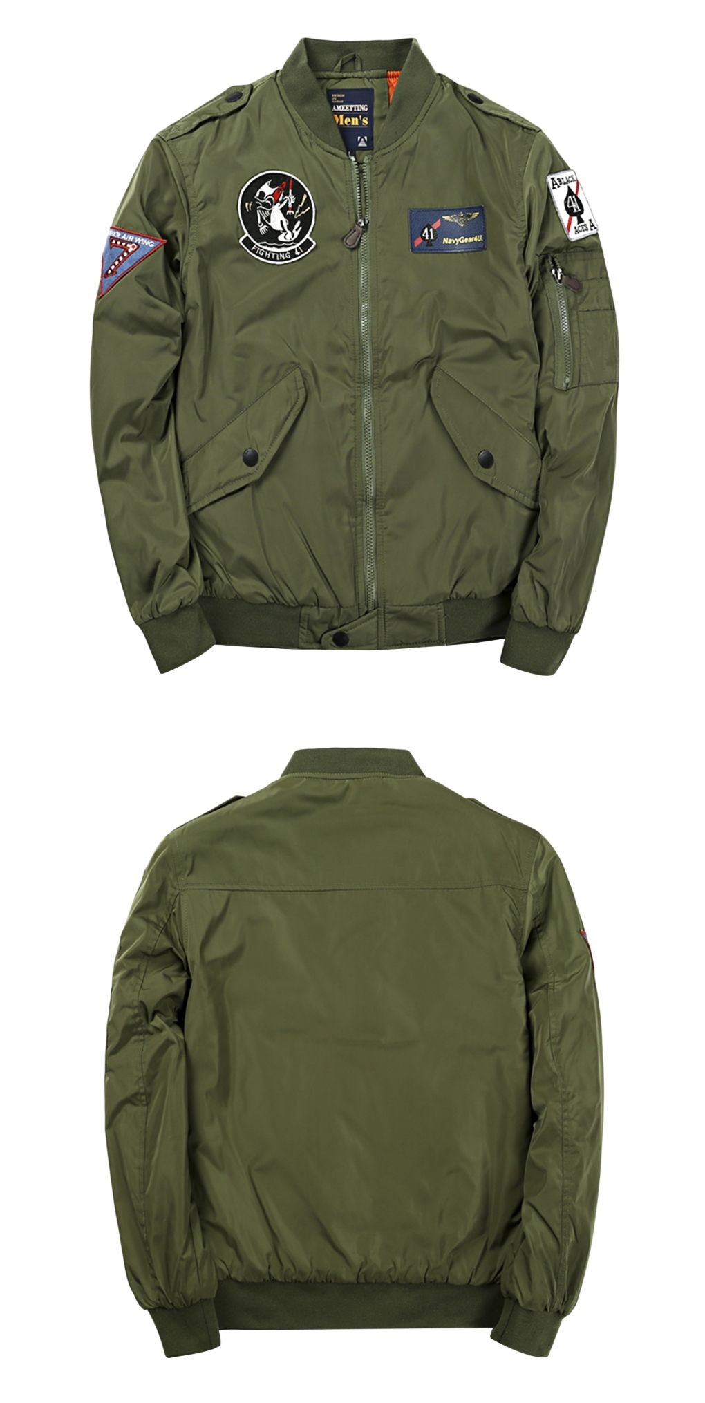 2da3a17624de0 Badge Patched Zip Up Bomber Jacket - Army Green L