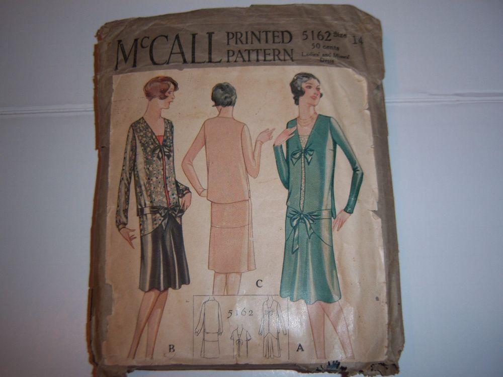 Antique Vtg McCall 5162 Printed Pattern 1930's Flapper Drop Waist Dress Bows 14