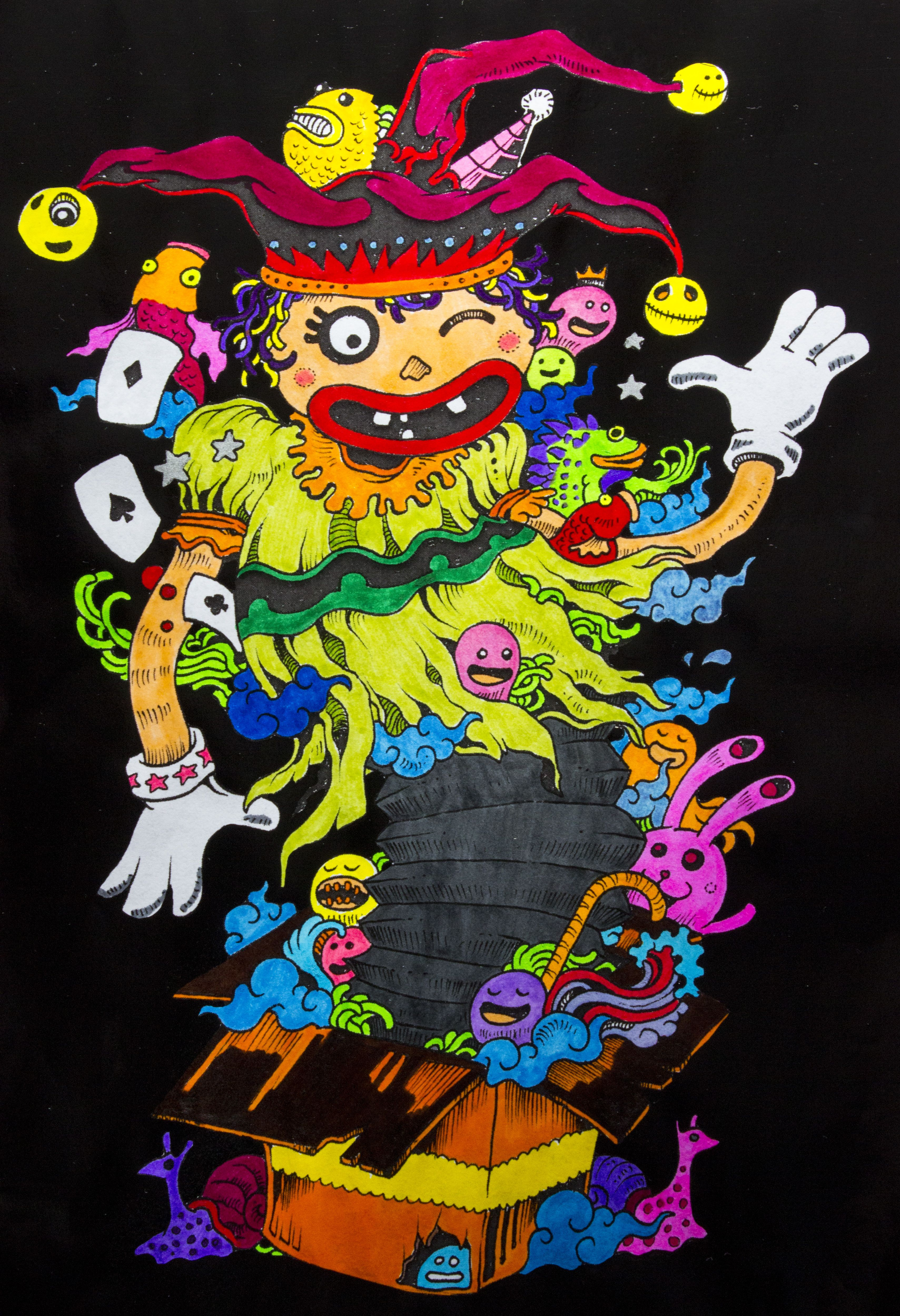 DOODLE INVASION FUNNY CLOWN Ilustrador ROSANES KERBY Painted By INSTANT PIC
