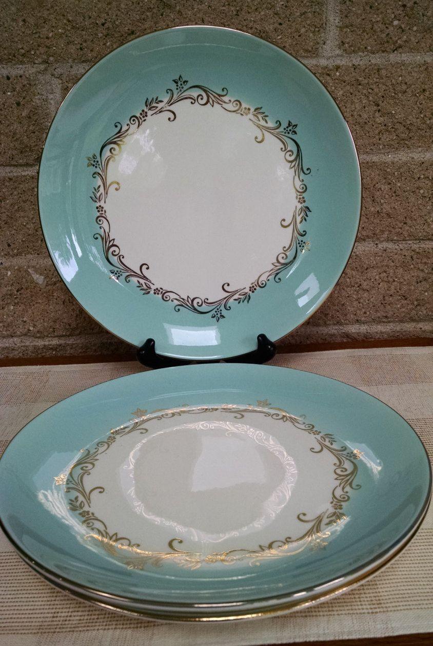 Lifetime China Gold Crown 10 Inch Dinner Plates Turquoise Aqua Vintage Dinnerware Dinnerware Patterns Plates