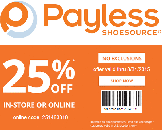 25% off at Payless Shoesource, or