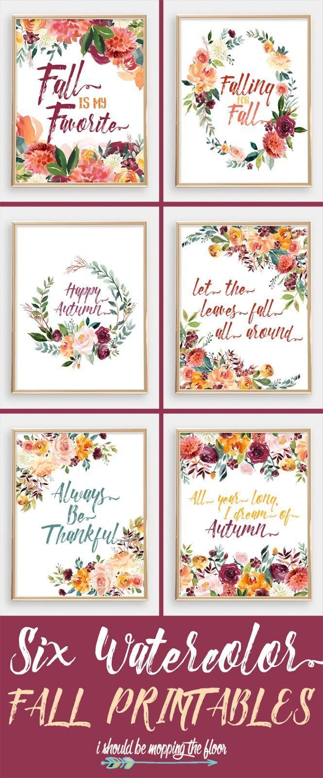 Six Watercolor Fall Printables | Imprimibles, Acuarela y Otoño