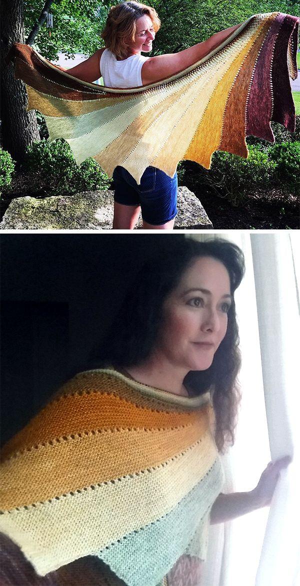 Free knitting pattern for Easy Arabella Shawl - Garter stitch shawl ...