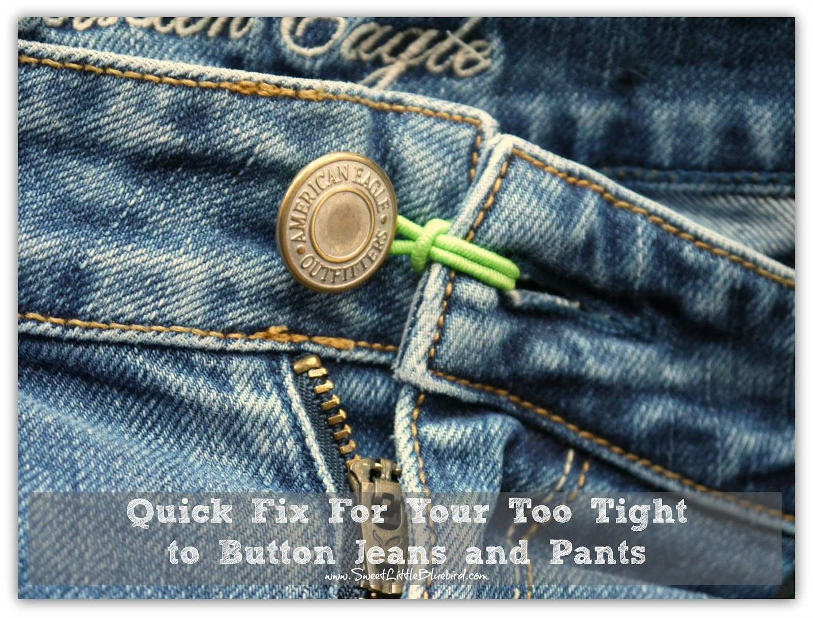 ead7b1dba95 Quick Fix for too tight to button jeans/pants (great pregnancy tip so you  can be comfy in your jeans a few extra weeks) GENIUS!!