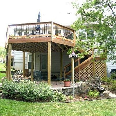 this elevated deck creates a covered