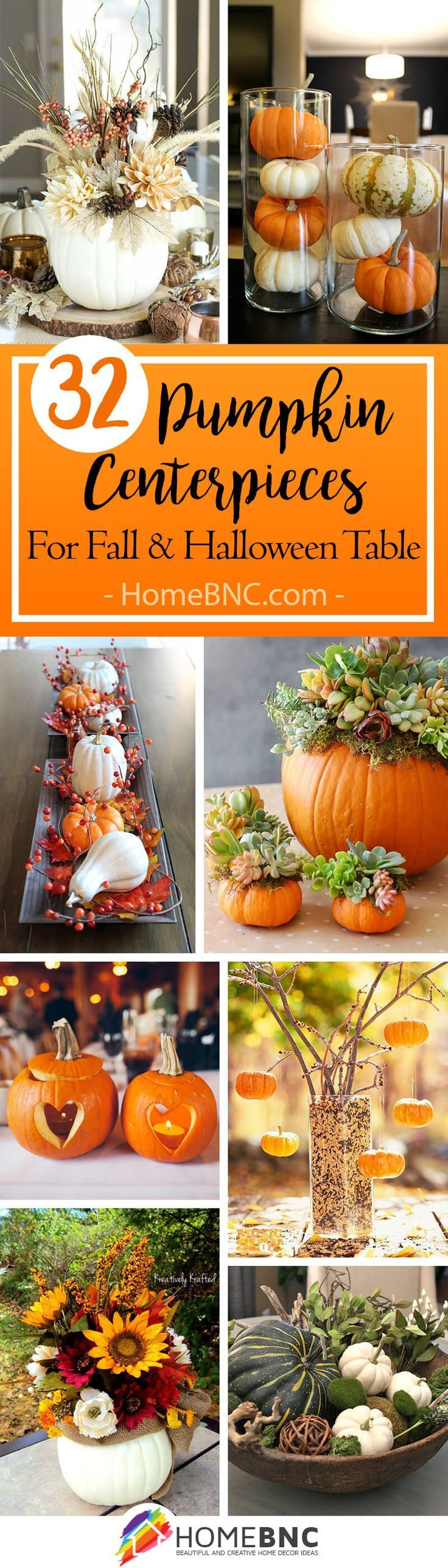 32 Lovely Pumpkin Centerpiece Ideas For Your Holiday Table Pumpkin Centerpieces Fall Decor Diy Holiday Tables