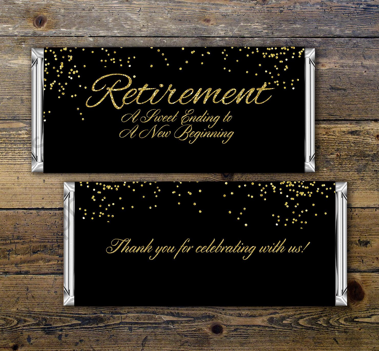 Retirement Candy Bar Wrapper Printable Digital File Candy Bar