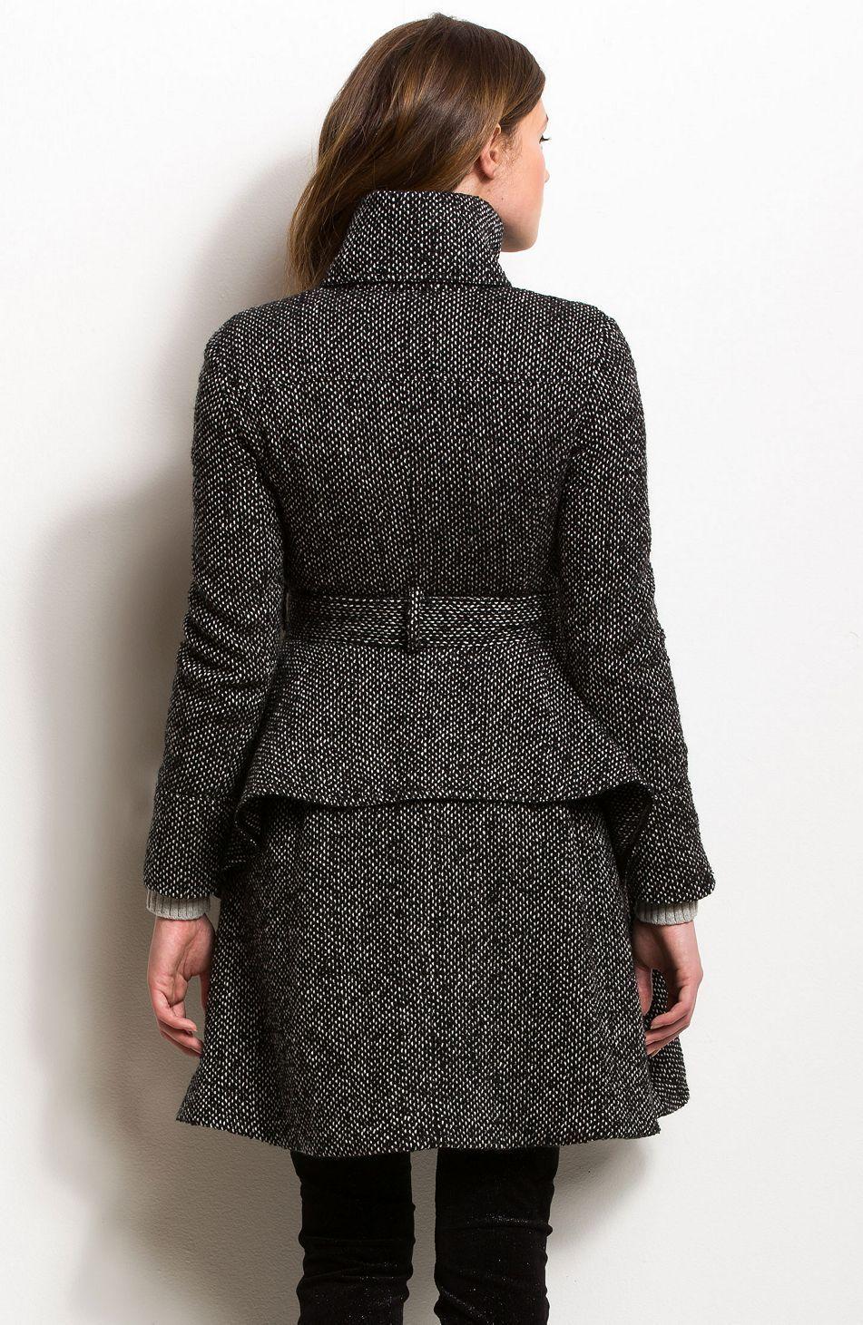 Peplum Tweed Coat - Outerwear - Womens - Armani Exchange