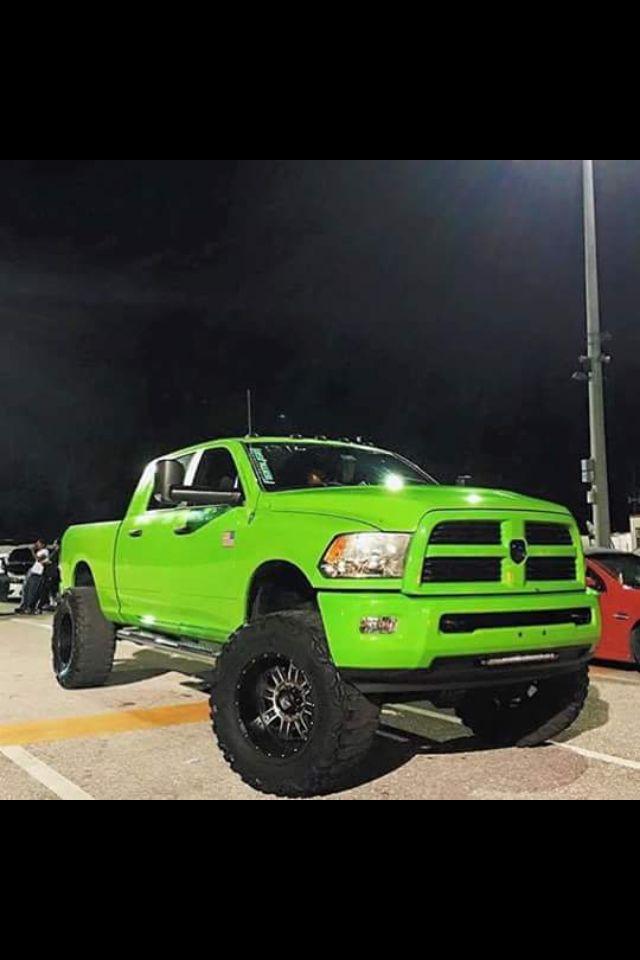 Lime Green Dodge Cummins Crew Cab Dodge Cummins Lifted Blackwheels Limegreen Cummins Trucks Dodge Trucks Truck Design