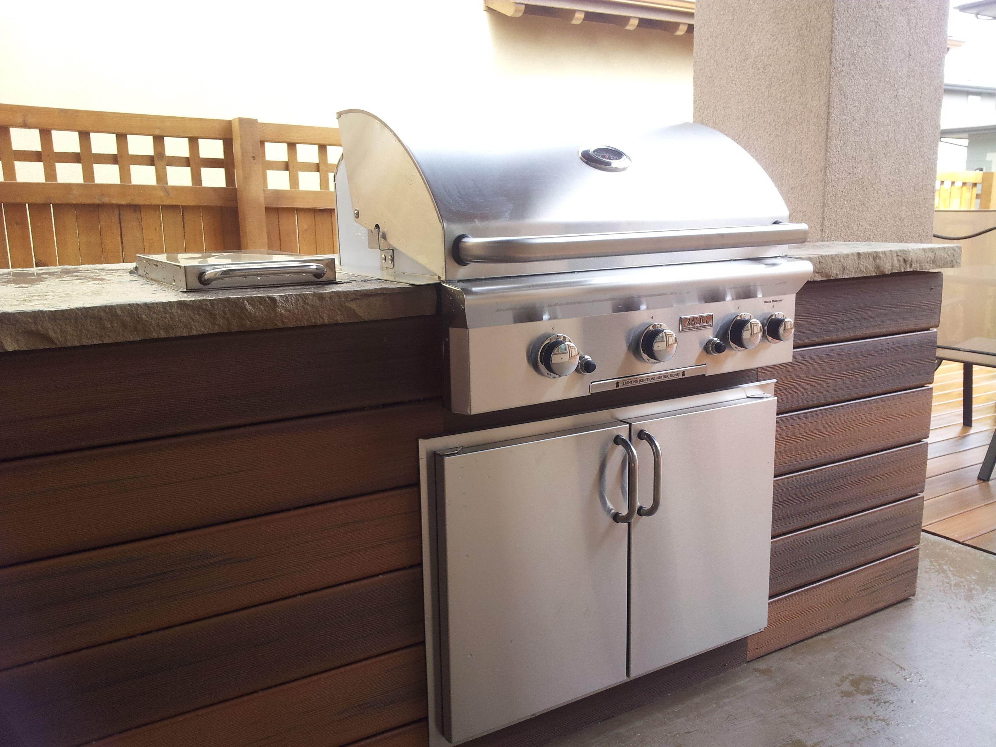 Best Kitchen Gallery: Posite Wood Slats Buff Flagstone Countertop Outdoor Kitchen of Composite Wood Kitchen Cabinets on rachelxblog.com