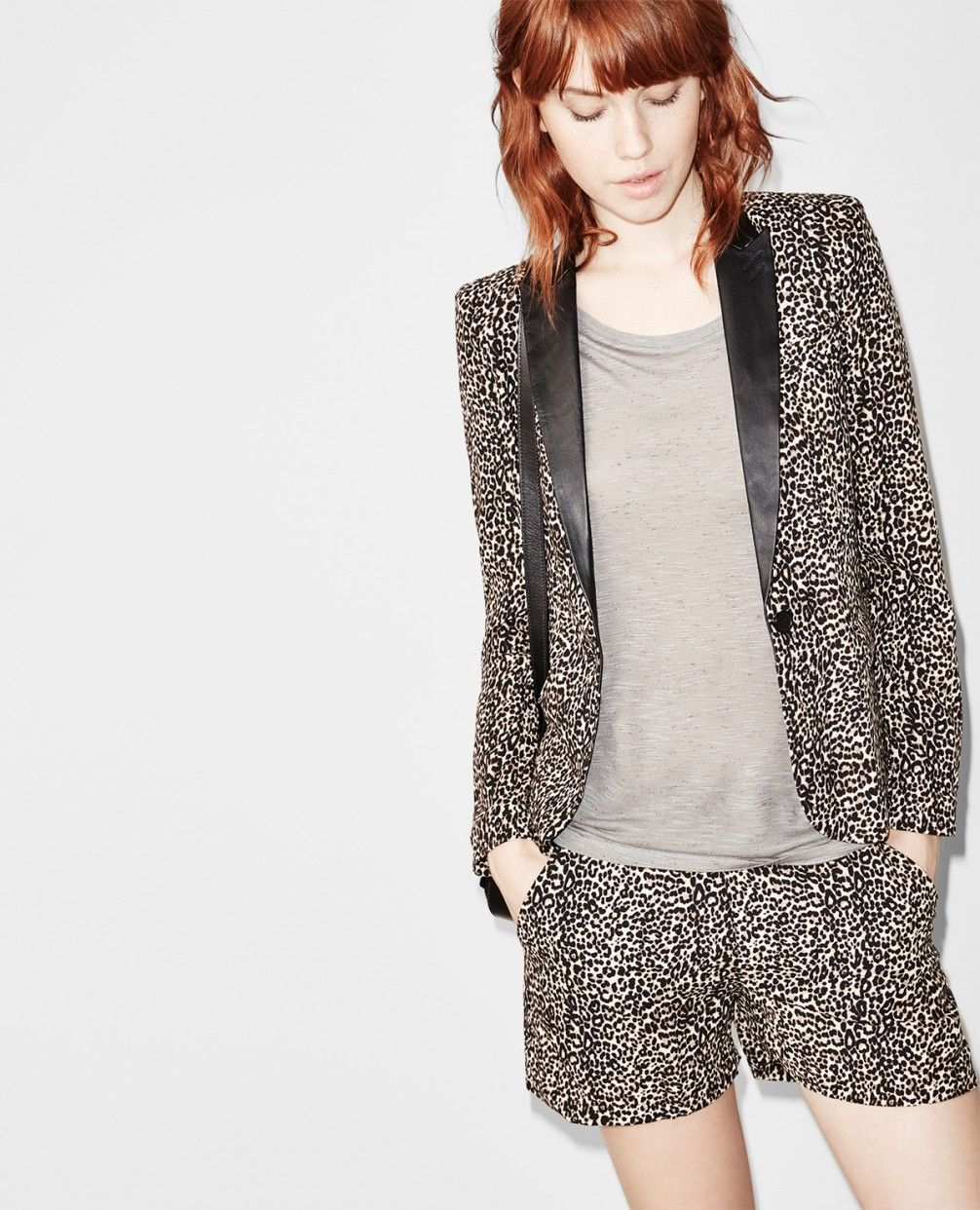"Fluid ""Baby Leopard"" print jacket with a leather collar"
