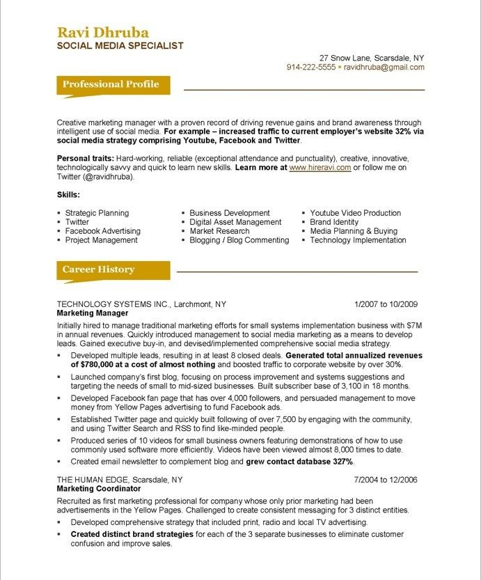 Social Media Specialist-Page1 Marketing Resume Samples Sample