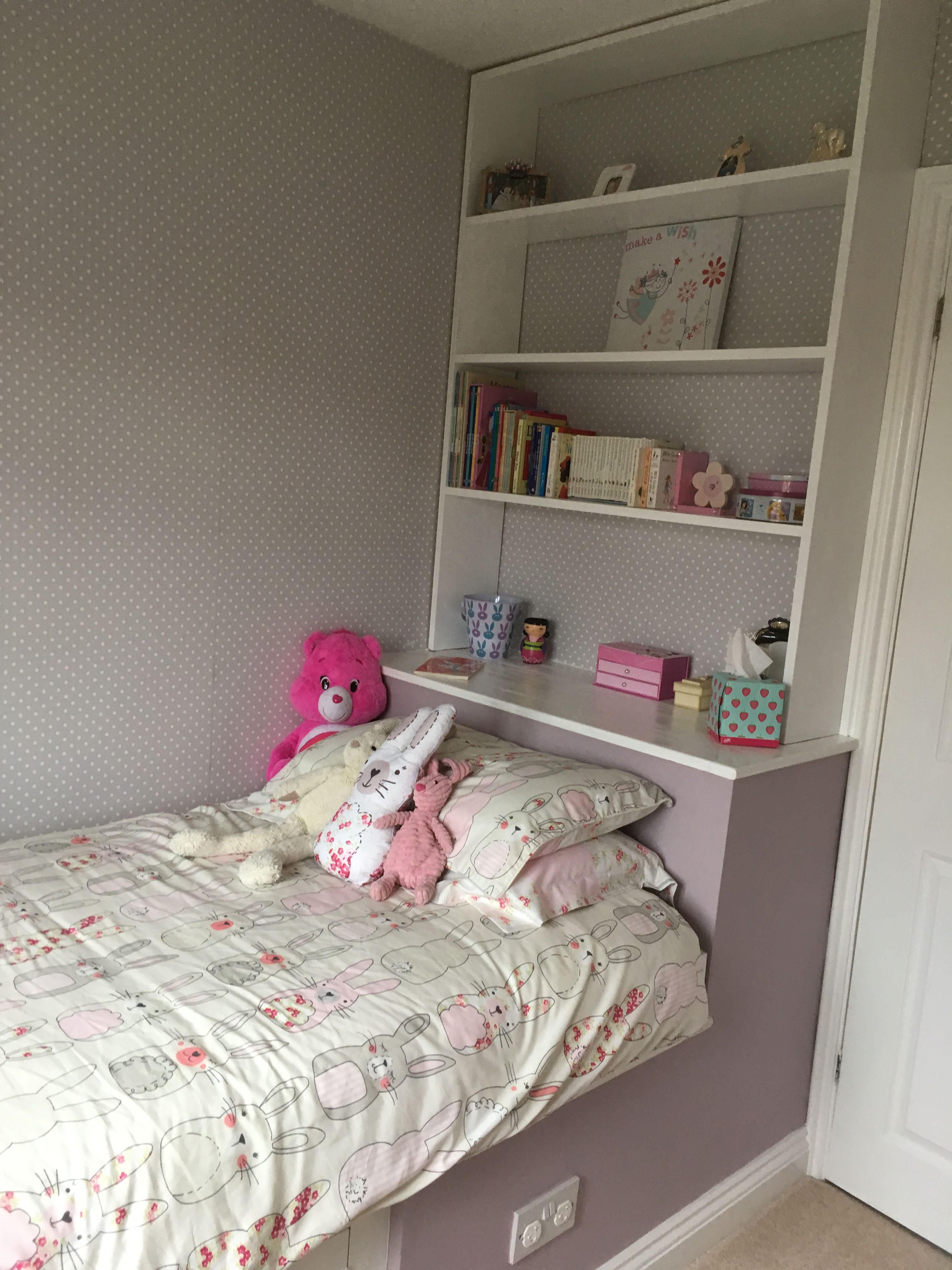 Perfect finish with bedding, painted areas and storages lips ...