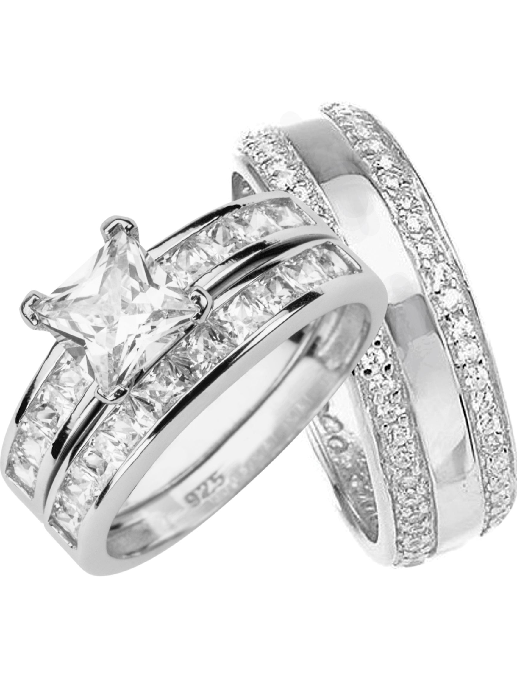 Laraso Co His And Hers Wedding Rings Set Sterling Silver Bands For Him Her Walmart Com In 2020 Cheap Wedding Rings Sets Wedding Rings Sets His And Hers Wedding Ring Sets