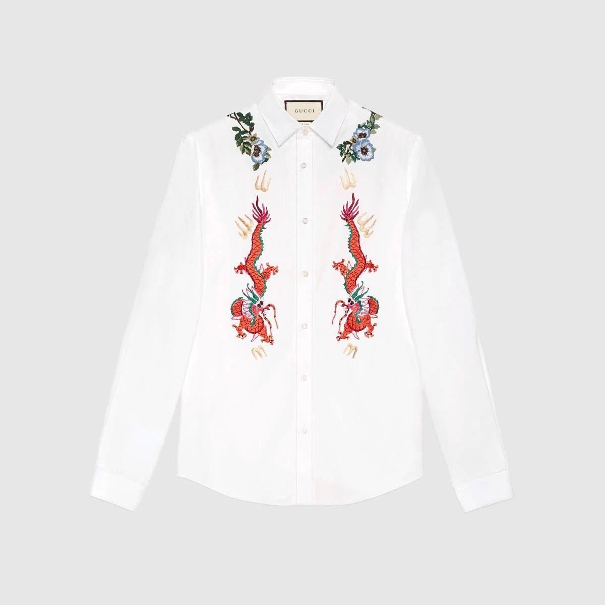 cc7fafab1 GUCCI Cotton Duke Shirt With Embroidery - White Cotton. #gucci #cloth #all