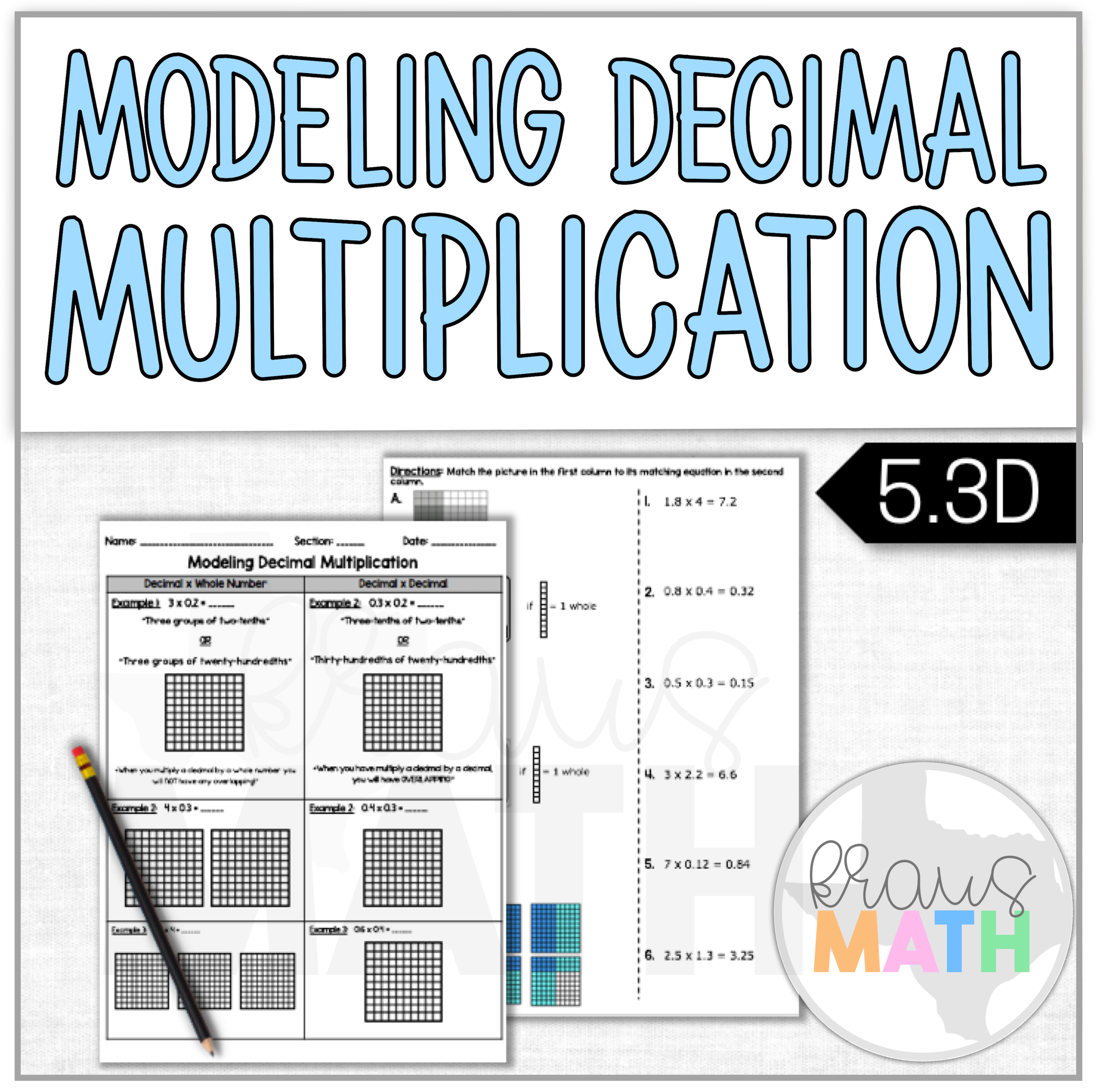 Modeling Decimal Multiplication Notes Worksheet Teks 5 3d Kraus Math Math Interactive Notebook Math Interactive Multiplication Practice