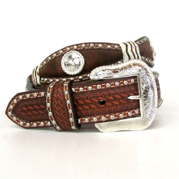 Nocona Hair-On Scalloped Belt with Conchos N2413808