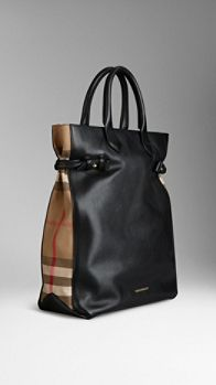 44198a9061a9 Check Detail Leather Portrait Tote Bag