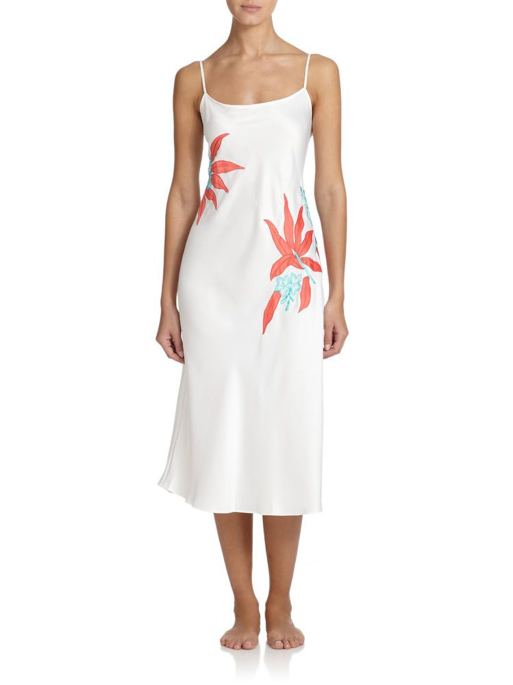 c21b570afb  198 NATORI LANAI WARM WHITE GOWN TROPICAL FLORAL AND LEAF APPLIQUE Y73116  SMALL  Natori  Gowns