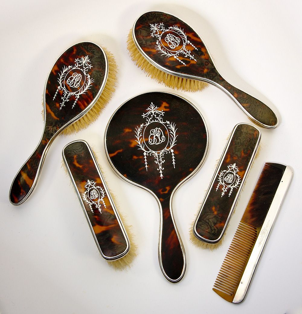 Antique edwardian english sterling silver and faux tortoise shell antique edwardian english sterling silver and faux tortoise shell dressing table set mirror brushes 6 pc geotapseo Gallery