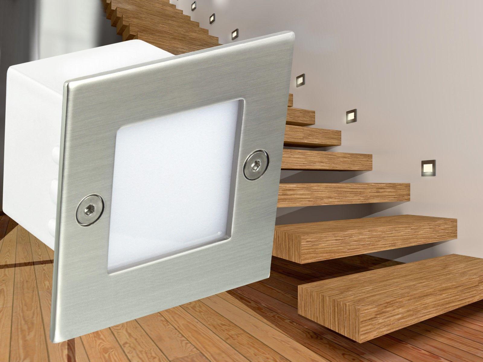 LED-Einbauleuchte Boden Treppenleuchte B04, 0,8W 230V, Edelstahl ...