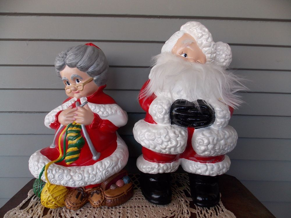 Vintage Atlantic Ceramic Molds Mr Mrs Santa Claus Figures 15 Hand Painted Santa Claus Figure Ceramic Molds Ceramic Angels