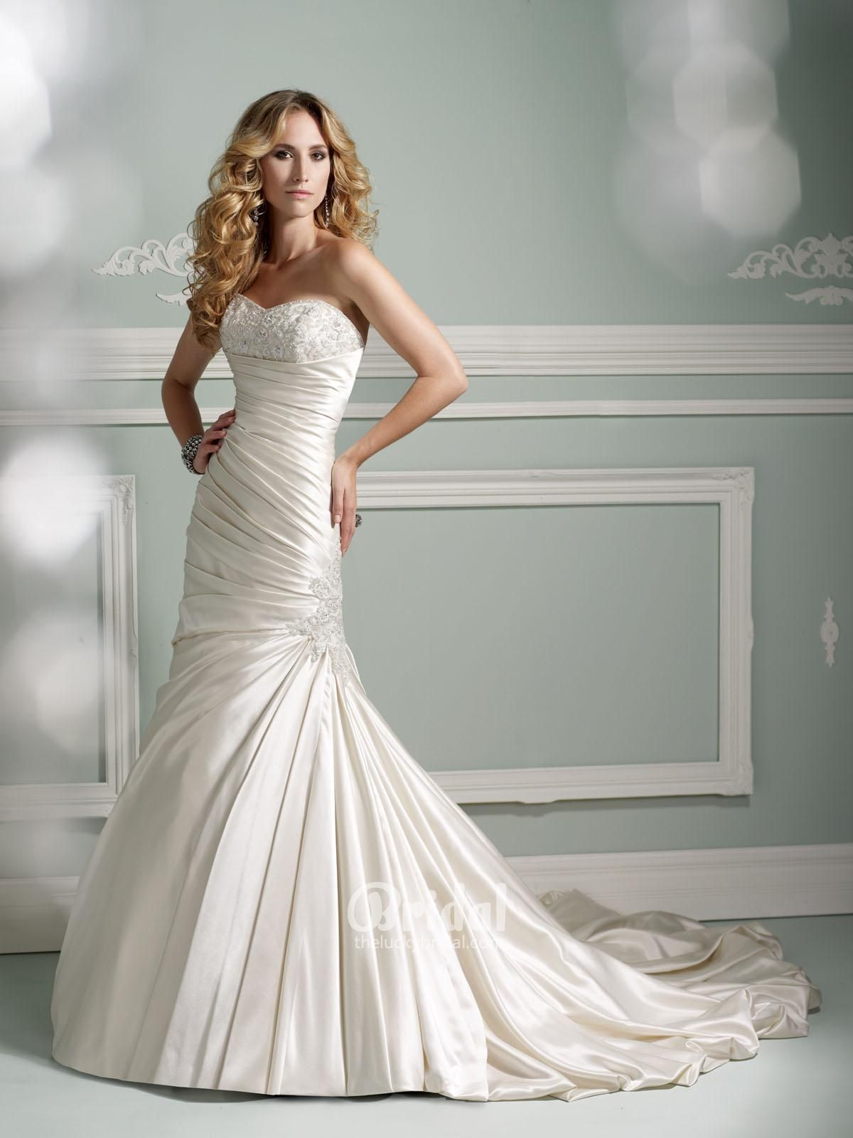 Gorgeous Beaded Satin Dropped Waistline Mermaid Bridal