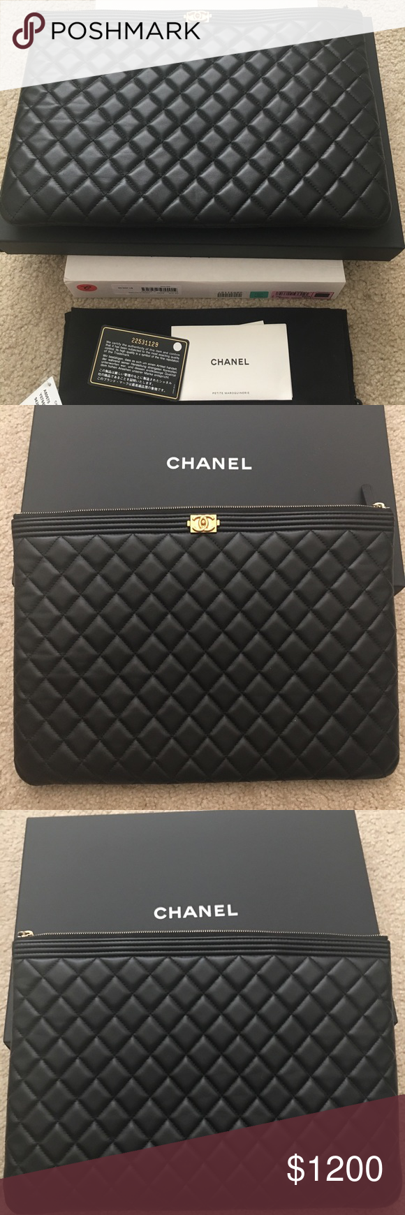 79570c10f60d Authentic Chanel Le Boy O Case/ Clutch Large Authentic Chanel Le Boy O Case  Black Lambskin with Gold Hardware. It shows some Normal wear but it's still  in ...