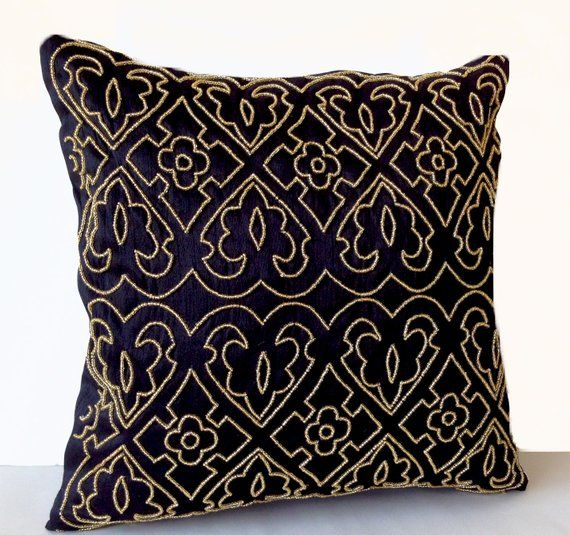 Black Pillow Covers Black And Gold Accent Pillows Cushion Cover