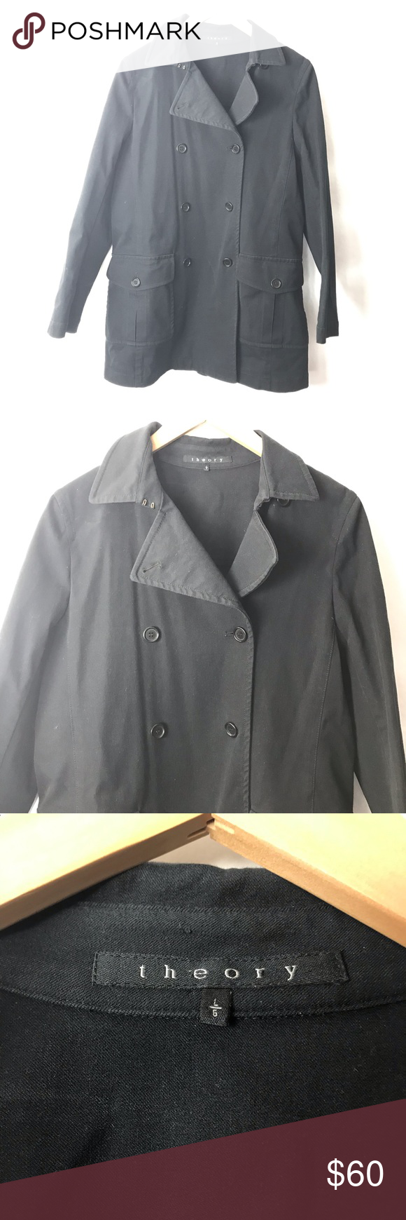 """2c7bb0f3697 Theory trench coat black 10 Theory trench coat Missing belt Button up jacket  Ap to ap 19.5"""" Length 31"""" Gently used Theory Jackets & Coats Trench Coats"""