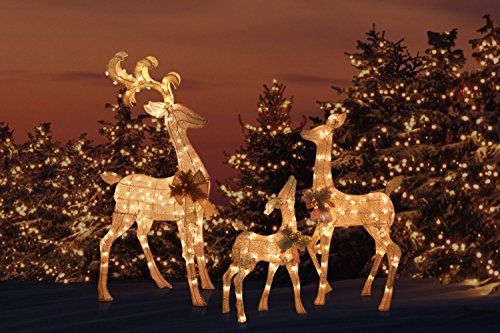 Silver Outdoor Yard Lighted Reindeer Family Set Yard Sculpture Ornaments Includes Buck Doe And Baby Fawn Lawn Deer For Y Deer Decor Christmas Lights Family Set
