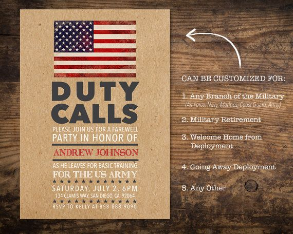 Military Going Away Party Invitation Deployment Party