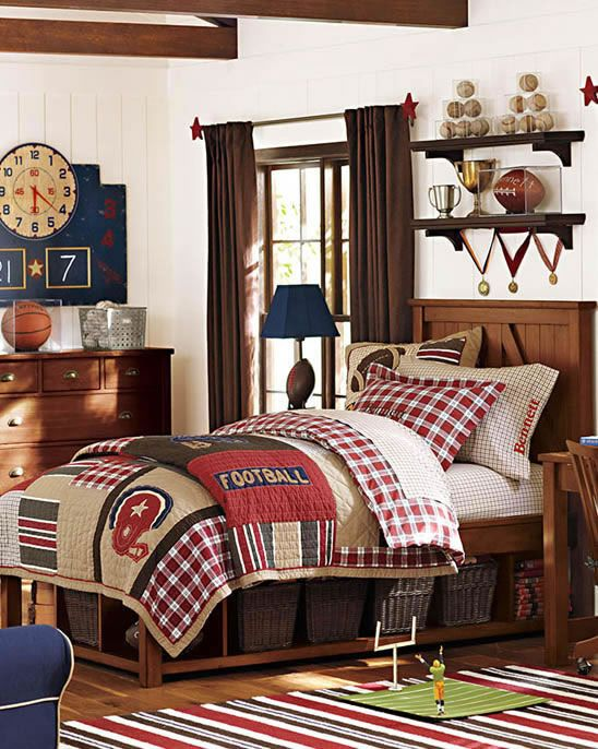 an awesome football bedroom for boys of all ages a classic look that will easily - Sports Bedroom Decorating Ideas