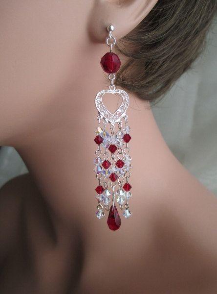 Red crystal chandelier earrings sterling silver heart filigree red crystal chandelier earrings sterling silver heart filigree teardrop dangle earrings very long garnet red ruby aloadofball Choice Image