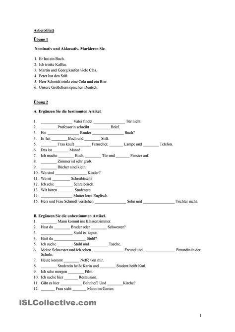 Nominativ und Akkusativ   Realschule, Sprachen und deutsche Sprache