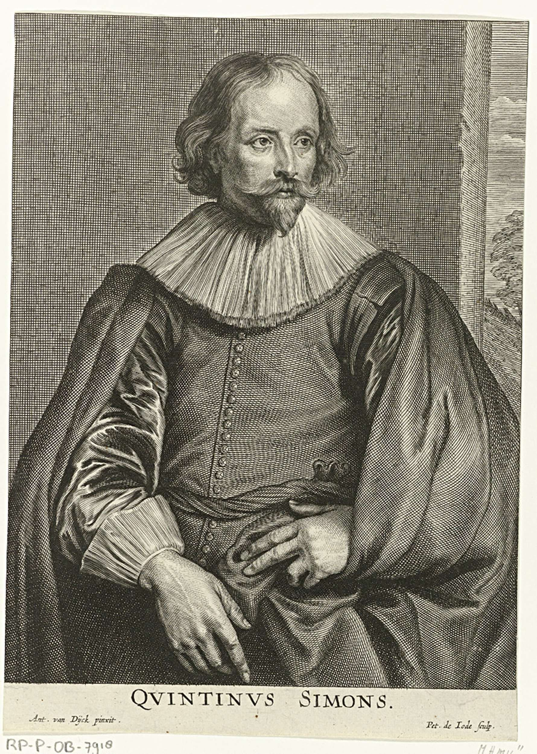 Pieter de Jode (II) | Portret van Quintijn Simons, Pieter de Jode (II), 1628 - 1670 | Portret van Quintijn Simons, ten halven lijve. In de marge de naam van de geportretteerde.