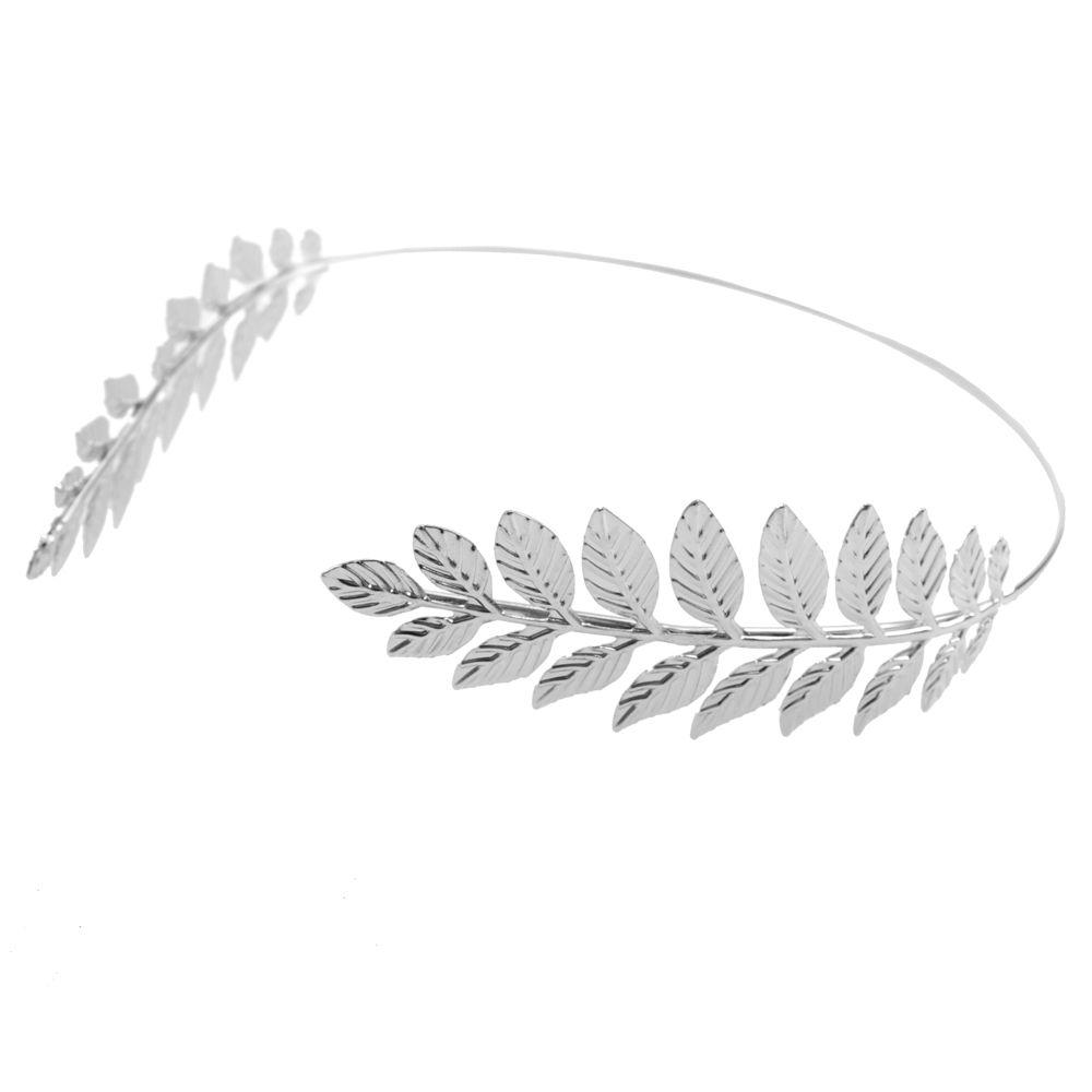 Opaska do włosów odwrócona - gęste gałązki wzór 1 - srebrna