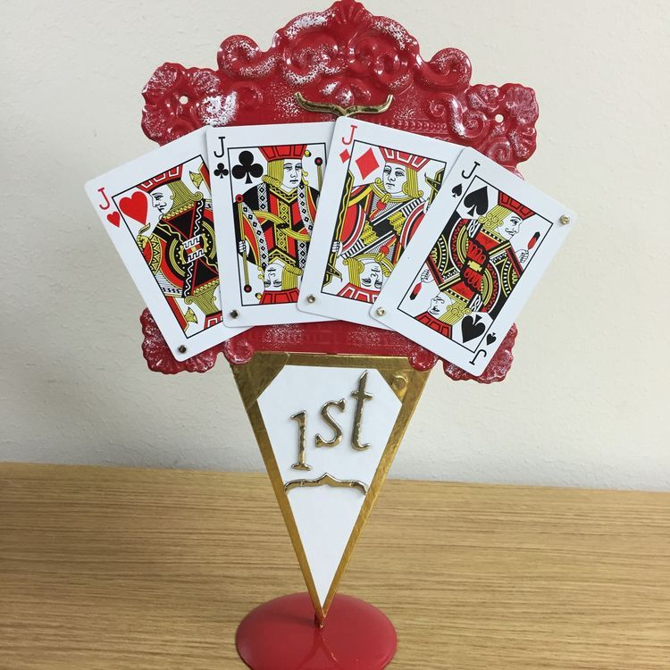 Euchre Tournament Trophy Chalkboard Playing Cards Chipboard