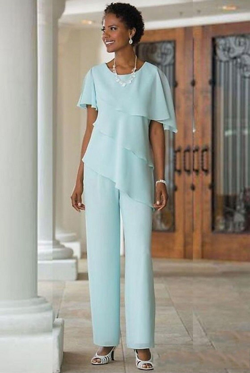 Light Blue Long Mother of the Bride Dresses Pants Suits Two-piece ...