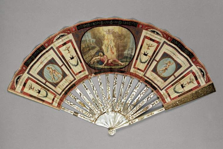 "Circa 1800 Grand Tour fan of double ""chickenskin'. Painted with 'Jacob's dream' after Raphael's fresco in the Logge Vatican. Central cartouche and typical 'Herculaneum'."