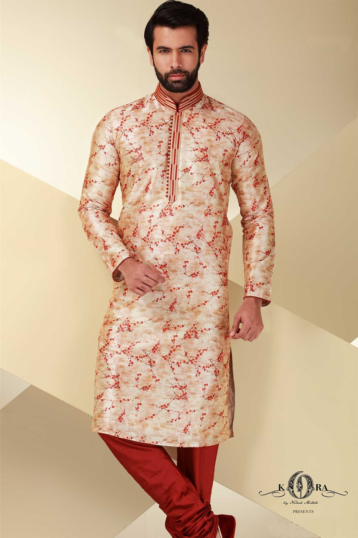 Biege Cotton Printed KurtaKR402 Wedding dress men, Mens