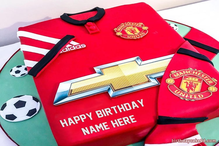 Manchester United Birthday Cake With Name Manchester United Birthday Cake Soccer Birthday Cakes Cake Name
