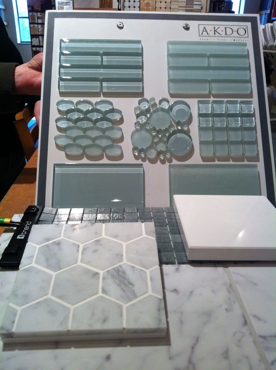 Bottom left glass tile for shower, backsplash (almost entire wall ...