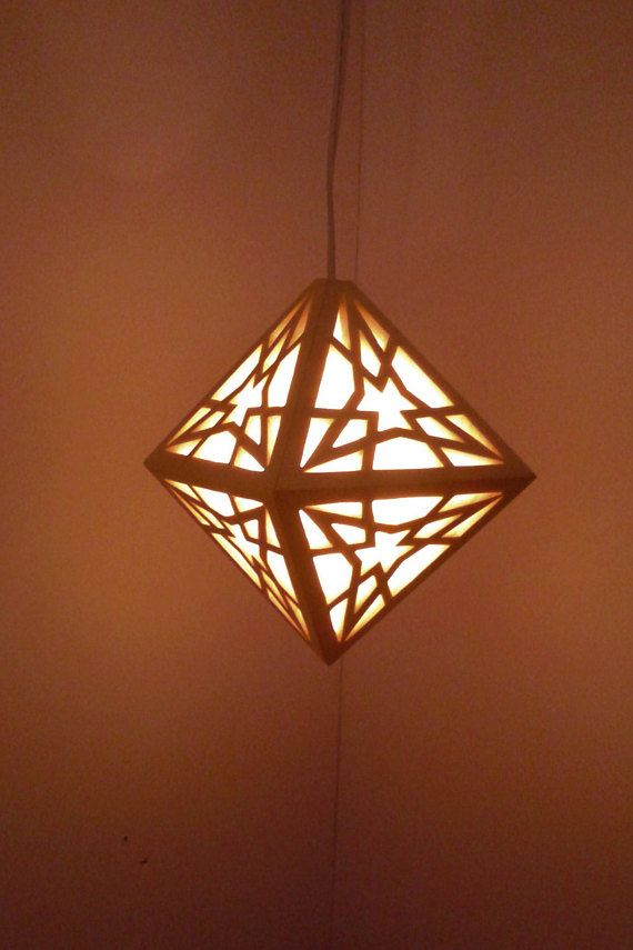 Hanging Light Geometric Lamp Wood Solar Bulb Led Lights